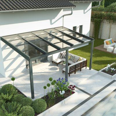 Terasa su stumdoma stogo stiklų sistema
